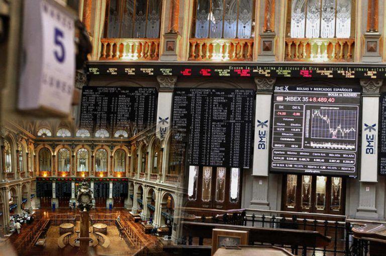 Interior de la Bolsa en Madrid