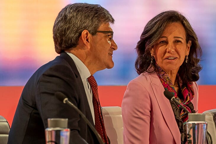 El consejero delegado y la presidenta de Banco Santander, durante el Investor Day 2019.