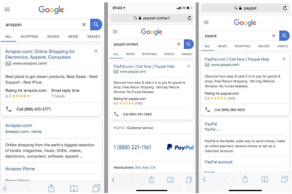Anuncios falsos de Google que se hacen pasar por Adwords.