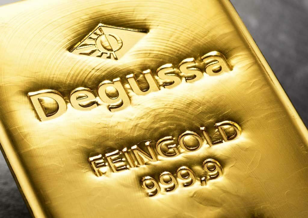 Lingote de oro de Degussa.
