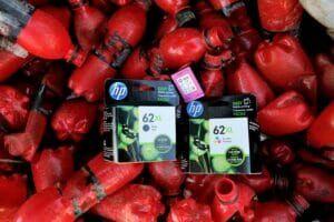 Cartuchos de tinta de HP reciclables.