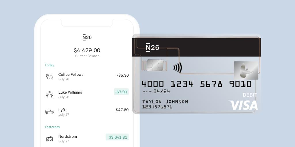 N26 Estados Unidos incluye una cuenta y una tarjeta de débito Visa®.