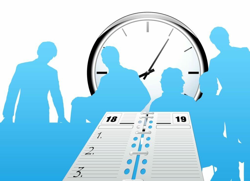 el registro de horarios en un espacio de trabajo.