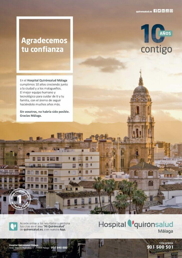Cartel 10 Aniversario Quirónsalud Málaga