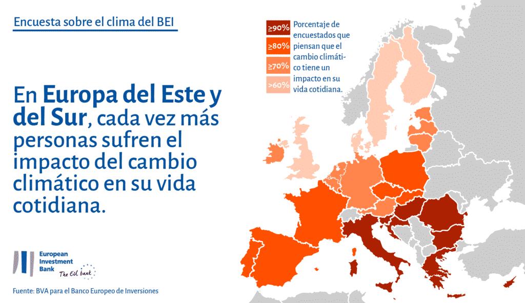 Impacto del cambio climático según el BEI.