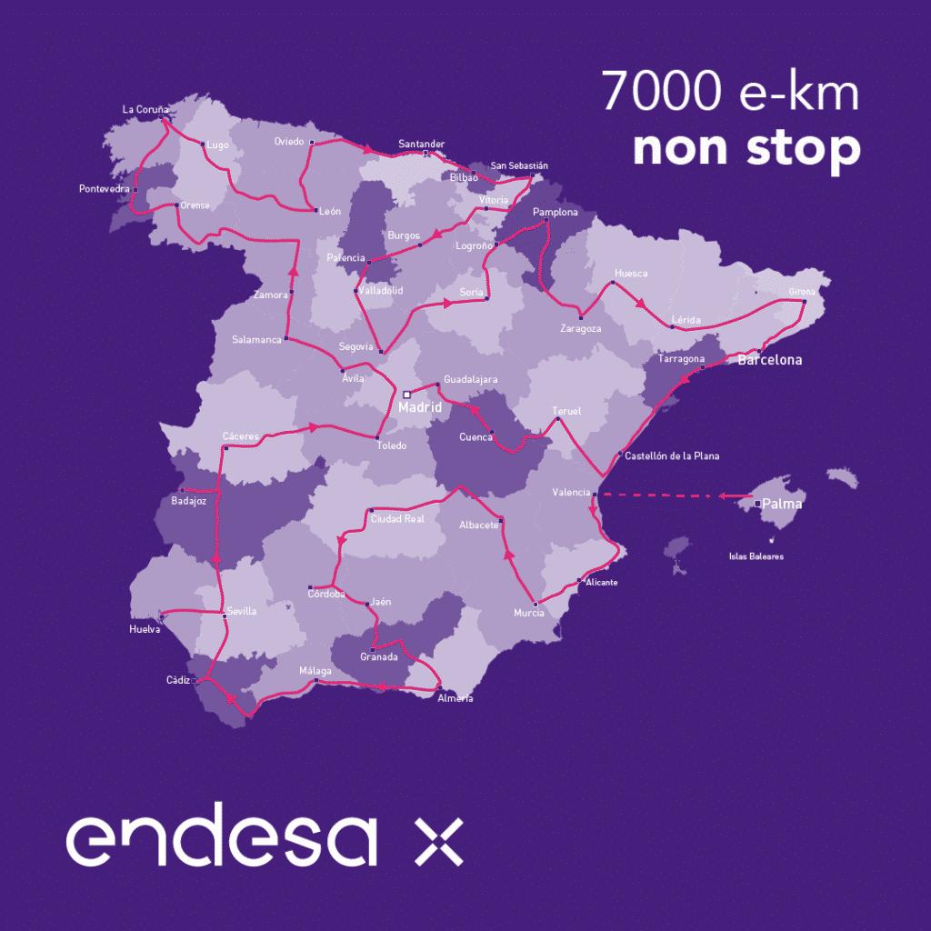 Endesa X recorrerá España en vehículo eléctrico en una semana.