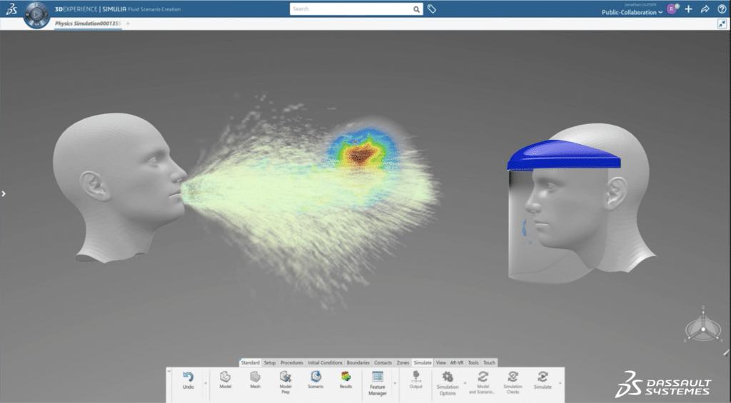 3DEXPERIENCE Lab OPEN COVID-19 simula estornudos digitalmente