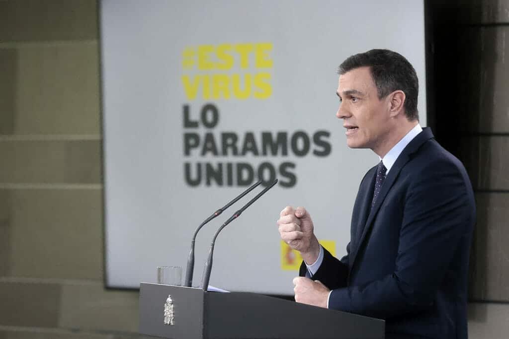Pedro Sánchez anunciando medidas para afrontar la crisis del coronavirus.