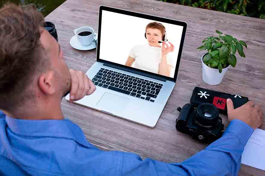 entrevista de trabajo por videoconferencia.