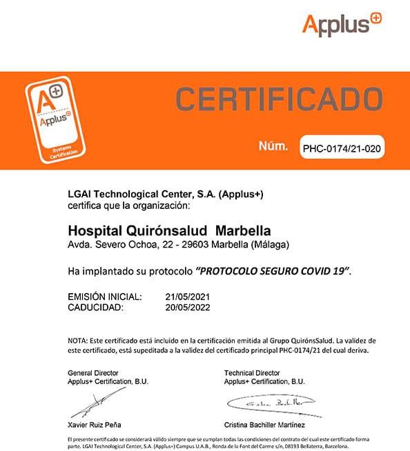 certificado-applus+-seguridad-Covid-Hospital-Quirónsalud-Marbella